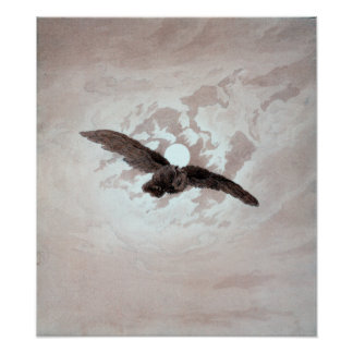 Caspar David Friedrich Owl Flying Against Moonlit Poster