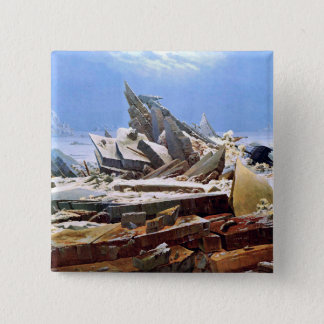 CASPAR DAVID FRIEDRICH - The sea of ice 1824 15 Cm Square Badge