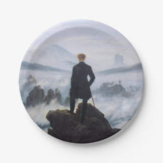CASPAR DAVID FRIEDRICH - Wanderer above the sea Paper Plate