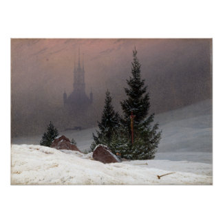 Caspar David Friedrich Winter Landscape Poster