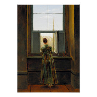 Caspar David Friedrich Woman at a Window Poster