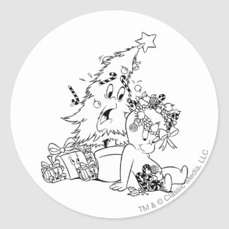 Casper Christmas Tree Round Sticker