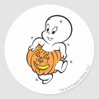 Casper Dancing in Pumpkin Round Sticker