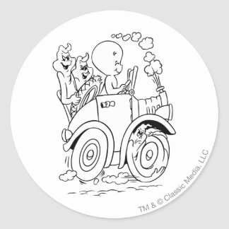 Casper Driving Round Sticker