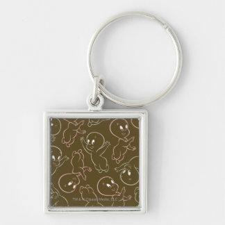 Casper Ghost Pattern Silver-Colored Square Key Ring