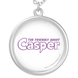 Casper Purple Outline Logo Silver Plated Necklace
