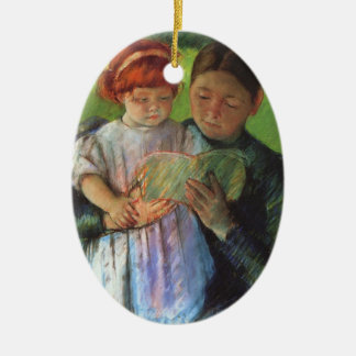 Cassatt: Nurse & Young Girl Ceramic Oval Decoration