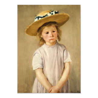 Cassatt's Child in Straw Hat - with a Sweet Smile 13 Cm X 18 Cm Invitation Card