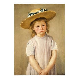 Cassatt's Child in Straw Hat - with a Sweet Smile 13 Cm X 18 Cm Invitation Card