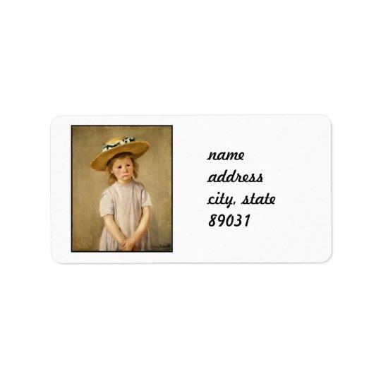 Cassatt's Child in Straw Hat - with a Sweet Smile Address Label