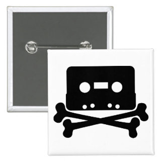 Cassette and Crossbones Square Button