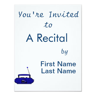 """cassette boombox with notes bluish.png 4.25"""" x 5.5"""" invitation card"""