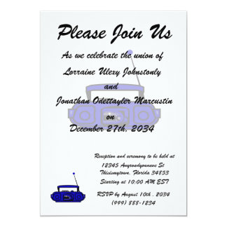 """cassette boombox with notes bluish.png 5"""" x 7"""" invitation card"""
