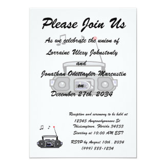 """cassette boombox with notes grey.png 5"""" x 7"""" invitation card"""