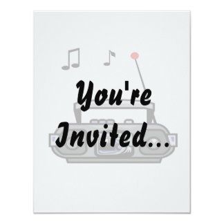 """cassette boombox with notes grey.png 4.25"""" x 5.5"""" invitation card"""