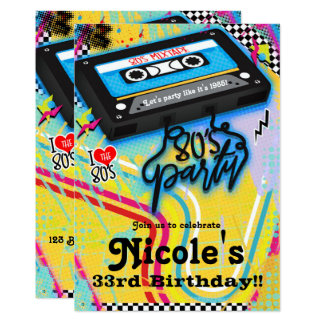 Cassette Tape 80's 1980's Theme Birthday Party Card
