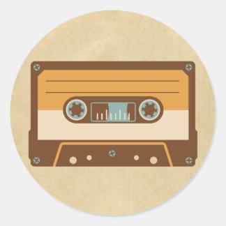 Cassette Tape Analog Design Round Sticker