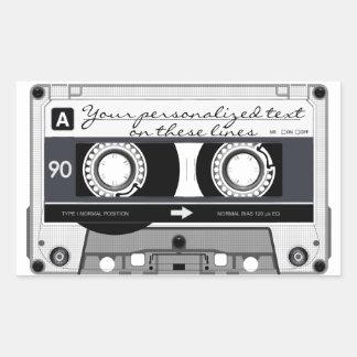 Cassette tape - black - rectangular sticker