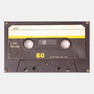 Cassette Tape Black Rectangular Stickers
