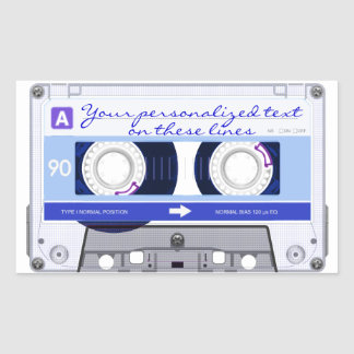 Cassette tape - blue - rectangular sticker