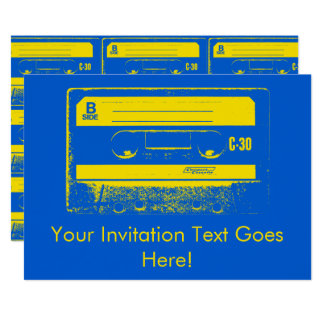 Cassette Tape Blue & Yellow Card