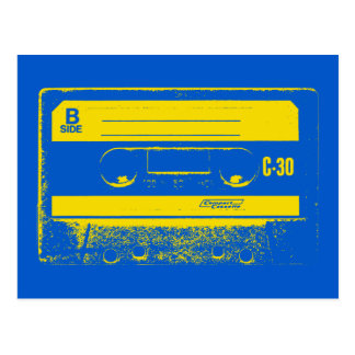 Cassette Tape Blue & Yellow Postcard