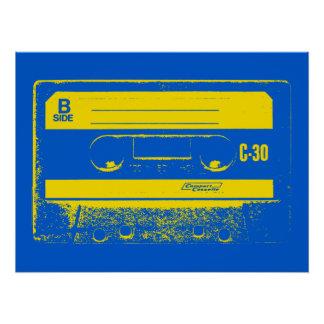 Cassette Tape Blue & Yellow Poster