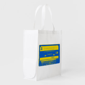 Cassette Tape Blue & Yellow Reusable Grocery Bag