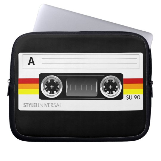 Cassette tape label laptop sleeve