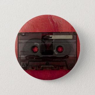 Cassette tape music vintage red 6 cm round badge