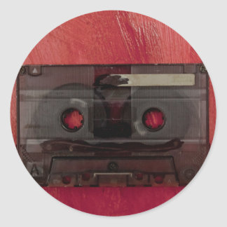 Cassette tape music vintage red classic round sticker