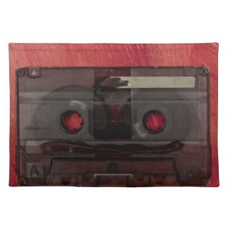 Cassette tape music vintage red placemat