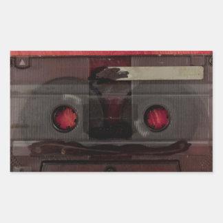Cassette tape music vintage red rectangular sticker
