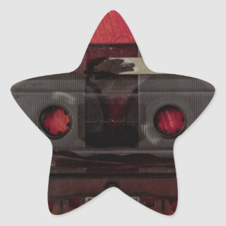 Cassette tape music vintage red star sticker