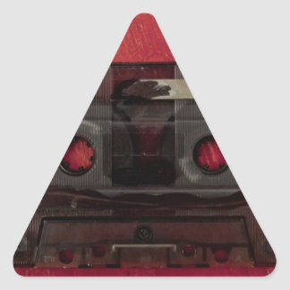 Cassette tape music vintage red triangle sticker