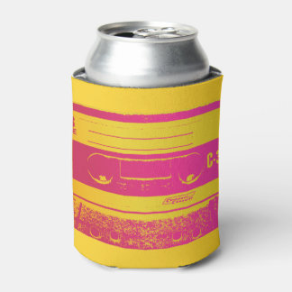 Cassette Tape Pink & Yellow Can Cooler