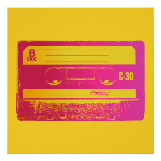 Cassette Tape Pink & Yellow Poster