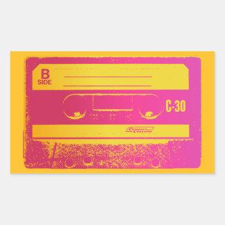 Cassette Tape Pink & Yellow Rectangular Sticker