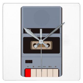 Cassette Tape Recorder Square Wall Clock