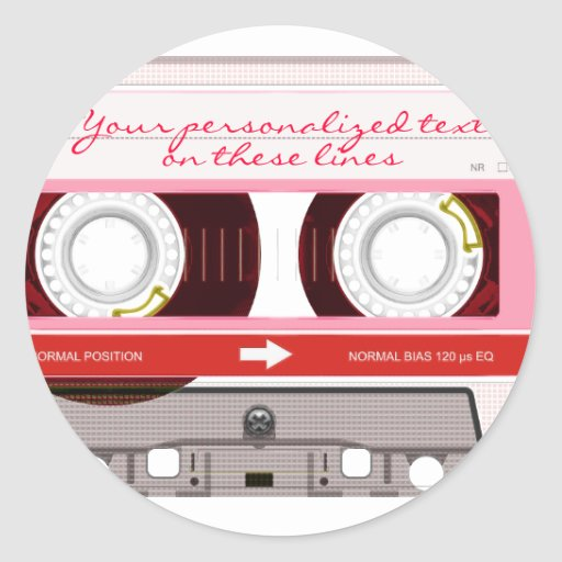 Cassette tape - red - round stickers