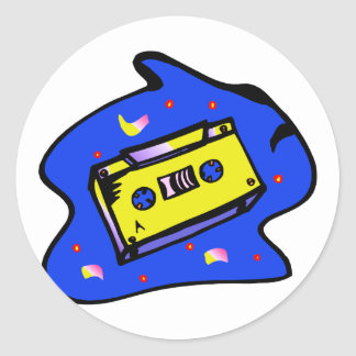 Cassette Tape Yellow and Blue Stickers