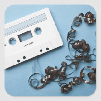 Cassette with Tangled Tape Square Sticker