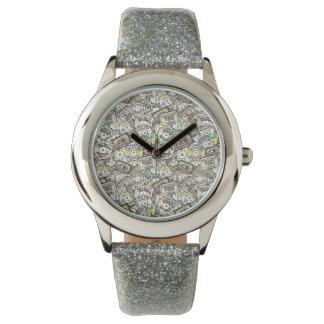 CASSETTES AND CDS Silver Glitter Wristwatch
