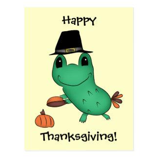 Cassie's Thanksgiving pilgrim frog Postcard