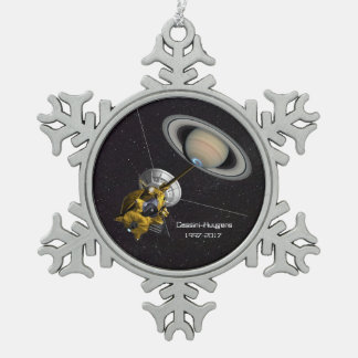 Cassini Huygens Mission to Saturn Snowflake Pewter Christmas Ornament