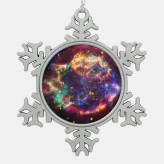 Cassiopeia Galaxy Supernova remnant Pewter Snowflake Decoration