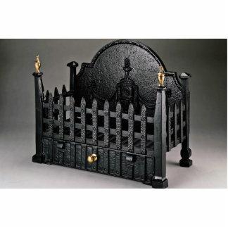 Cast iron fire basket, portcullis design standing photo sculpture