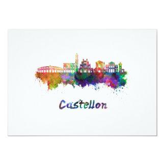 Castellon skyline in watercolor card