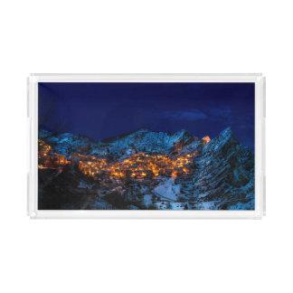 Castelmezzano, Italy - Snowy Winter Night Acrylic Tray