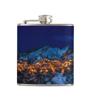 Castelmezzano, Italy - Snowy Winter Night Hip Flask